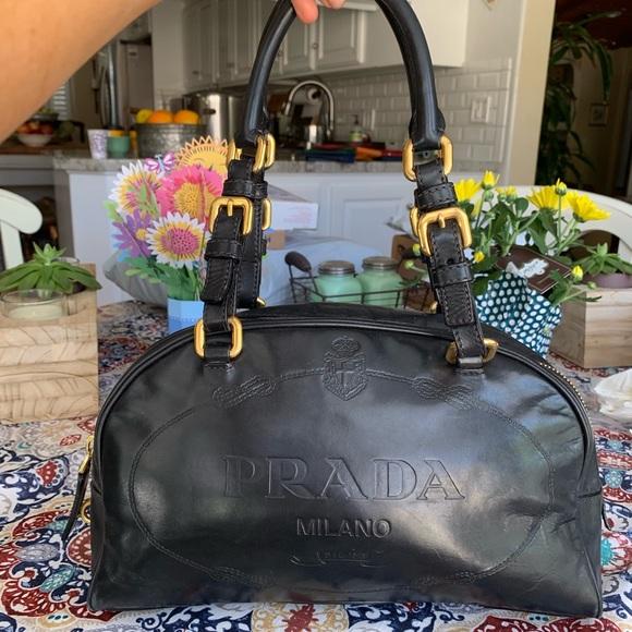 Prada Handbags - Auth Prada leather embossed logo shoulder bag tote